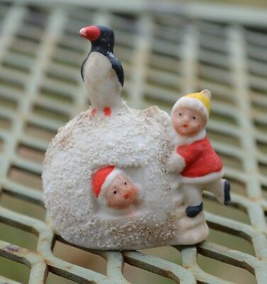 Rare 1920's Bisque Penguin Atop Snowball & Two Children Christmas Decoration
