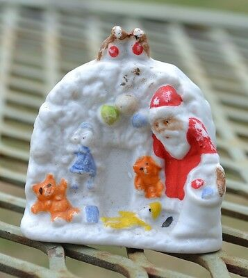 Antique German Santa Igloo w Toys Bisque Snow Baby Christmas Snowbaby Figurine