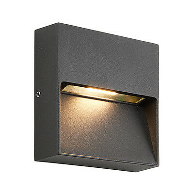 Saxby 69936 TUSCANA Square Matt Black 3W LED IP44 Indirect Outdoor Wall Light