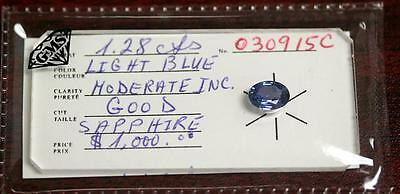 1.28 carat Natural Light Blue Sapphire Oval Loose CERTIFIED SEALED GEMSTONE