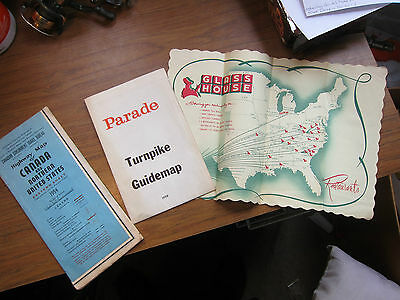 2 Road Maps (1954 Canadian Hwy Map 1958 Parade Tpke Map + Glass House table mat