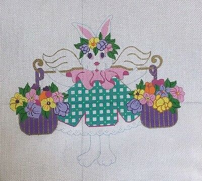 Beau Geste Rabbit Easter Bunny Flower Baskets Hand Painted Needlepoint Canvas