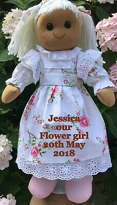 "Personalised 16"" Rag Doll  New Baby To Big / Little Sister Birthday Flower Gift"