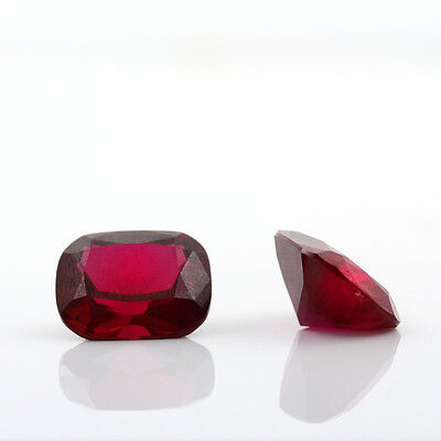 2 Vivid Red Ruby Loose Synthetic 12X10 Gemstones Antique Cut
