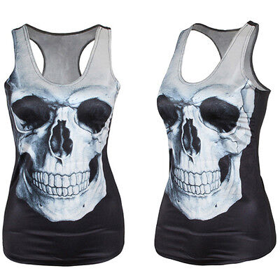 Popular Women Summer Skull Print Singlet Vest Tank Tops Punk Rock T-Shirt  SK wa