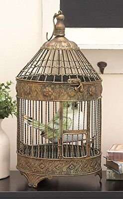 Set of 2 Antique Vintage Metal Parrot Bird Cage Set Hook Hanging Home Decor Art