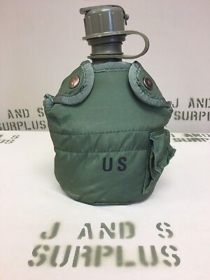 3Pc- USGI Military Issue 1Qt Canteen, Cover & SS Canteen Cup