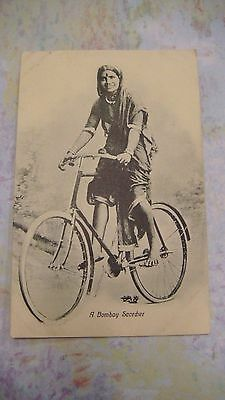 Vintage Postcard A Bombay Scorcher India Hindu Lady Riding Bike Bicycle