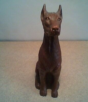 Doberman Pinscher Figurine dark chocolate brown, small 6.5 inches