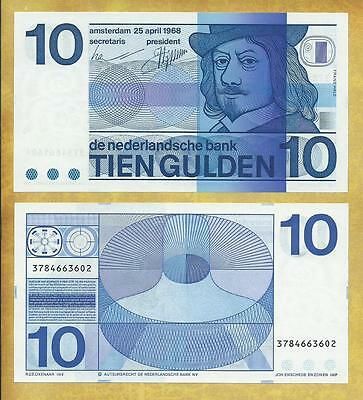 Netherlands 10 Gulden 1968 Unc P-91b ***USA SELLER*** Currency Note Money Bill