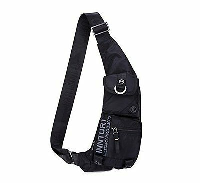 Lightweight Fanny Pack Sling Bag w/ Multi Compartments by Kawei Knight - Black