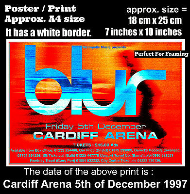 Blur live concert at Cardiff Arena 5th of December 1997 A4 size poster print