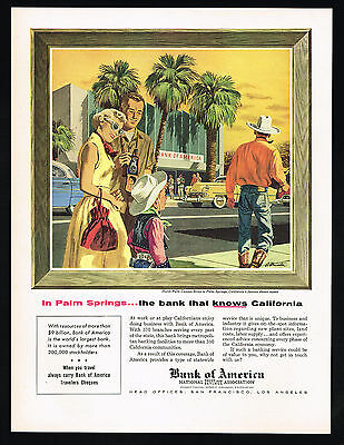 1956 Palm Springs California Cowgirl Art Bank Of America Vintage Print Ad