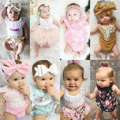 Newborn Infant Baby Girls Romper Bodysuit Jumpsuit Outfits Sunsuit US Stock