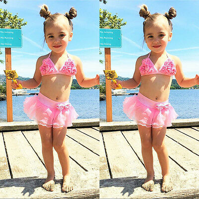 UK Seller Baby Girl Summer Pink Swimwear Kids Child Swimsuit Bikini Set Swimsuit