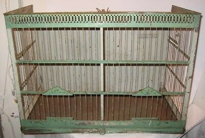 Old Large Antique Ornate Tin Birdhouse w/Green Paint + center divider bird Cage