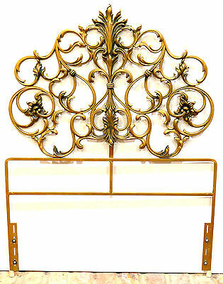 Hollywood Regency French Provincial Ornate Gold Twin Metal Bed Headboard