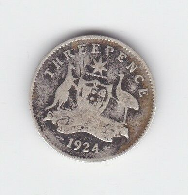 1924 Sterling Silver Threepence 3P Coin Australia K-994