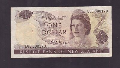 New Zealand One Dollar $1 Paper Banknote L-39