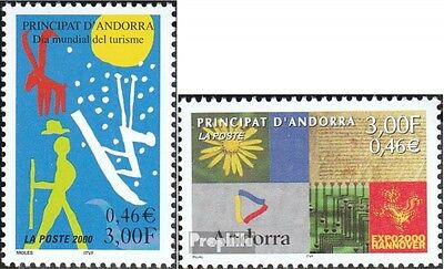 Andorra-French Post 556,557 mint never hinged mnh 2000 Tourismustag, world exhib