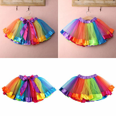 US FAST SHIP Kids Lovely Colorful Tutu Skirt Girls Rainbow Tulle Tutu Mini Dress