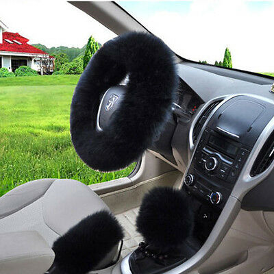 UK Seller Universal Australian Wool Fuzzy Auto Car Steering Wheel Cover BLACK