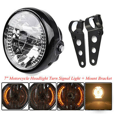 Motorcycle 7'' LED Headlight Turn Signal Indicator Black Mount Bracket Universal
