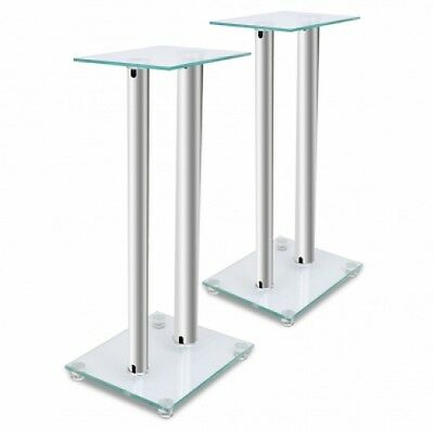 2 pcs Glass Speaker Stand (Each with 2 Silver Pillars)