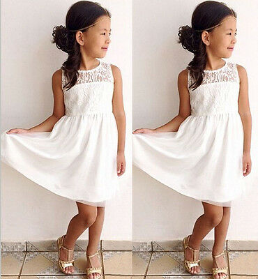 USA White Kids Girls Toddler Baby Lace Princess Party Dress Skirt Clothes 2-11Y
