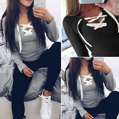 Fashion Women Summer Loose Top Long Sleeve Blouse Ladies Casual Tops T-Shirt USA