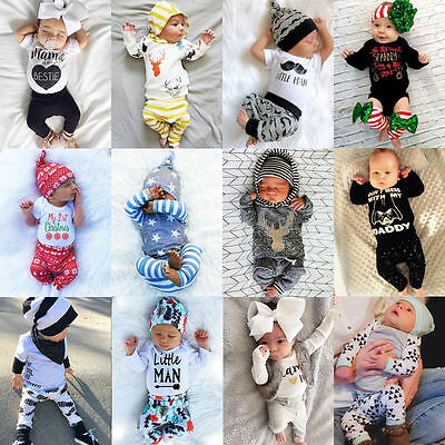 Newborn Kids Baby Boys Girls Cute Tops Romper +Long Pants Outfits Cotton Clothes