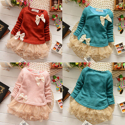 Baby Girls Dress Knit Sweater Tops Lace Bowknot Princess Casual Dresses Clothing