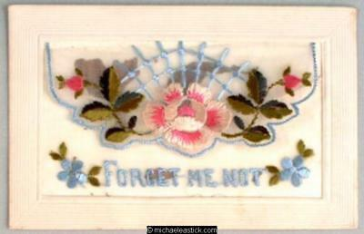 WWI French Embroidered Silk, Flowers - Forget me Not