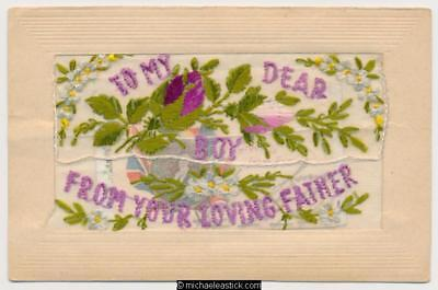 WWI Embroidered Silk, To My Dear Boy, Insert Cards