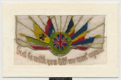 WWI Embroidered Silk, Flags 'God Be With You'