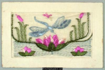 WWI French Embroidered Silk pocket, Dragonfly and Lilies