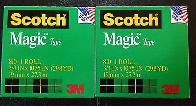 "2 Rolls Scotch Magic Tape Refill Invisible 3/4 x 1,075""  1"" core 75 inches bonus"