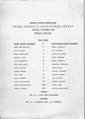 DERBY COUNTY v NOTTINGHAM FOREST  RESERVES ~ 8 MARCH 1988
