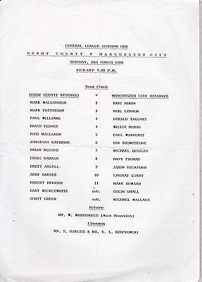 DERBY COUNTY v MANCHESTER CITY  RESERVES ~ 2 MARCH 1988