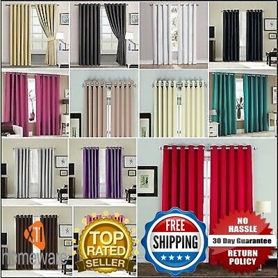 Thermal Blackout Curtains Pair Eyelet Ring Top Ready Made Polyester