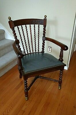Antique Victorian Arm Chair With Leather Seat Brass Mounted Office