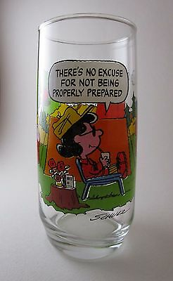 Camp Snoopy No Excuse For Not Being Prepared Charlie Brown Collector Glass 1968