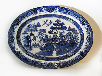 """Large 18.5"""" Heritage Mint Blue Willow Platter, Oval Serving Plate, Pristine"""