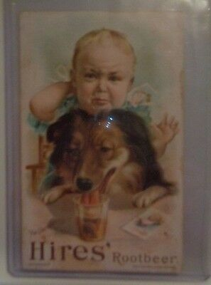 """ANTIQUE HIRES' ROOT BEER ADVERTISING TRADE CARD Dog & Child  """"Uninvited Guest"""""""