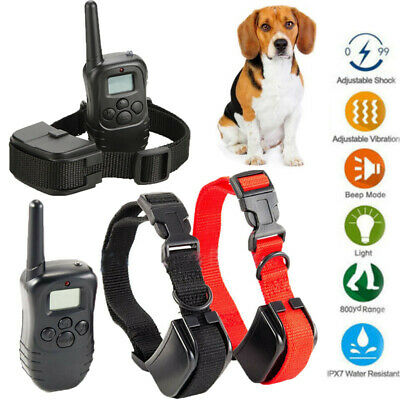 Waterproof 2 Dog Shock Training Collar Pet Trainer + Remote 4 Modes