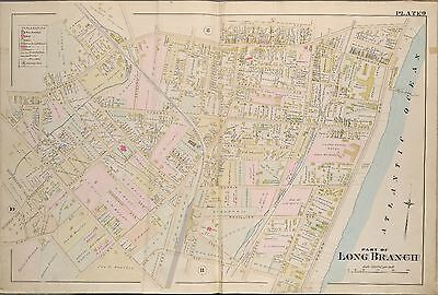 1889 Long Branch Monmouth County New Jersey Ocean & Abbotsford Hotels Atlas Map