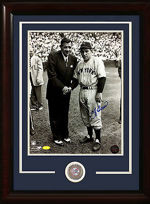 Yogi Berra signed 11x14 Babe Ruth photo framed Yankees coin auto Steiner COA