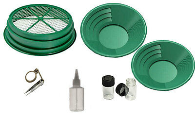 7pc Gold Panning Set for Mining Prospecting Gold Pan, Sifter, Tools, Premium Set