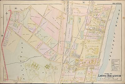 1889 Long Branch, Monmouth County, New Jersey Scarboro & Howland Hotel Atlas Map