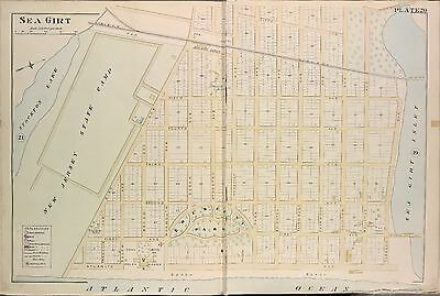 1889 Sea Girt Inlet Monmouth County, New Jersey, Crescent Park Plat Atlas Map